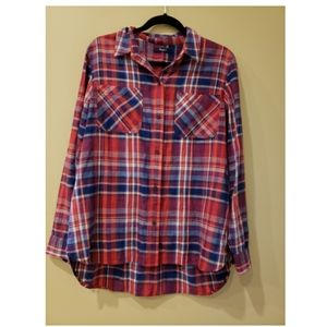 Madewell plaid button up top large or XL